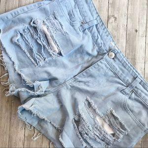 F21+ Distressed Denim Shorts